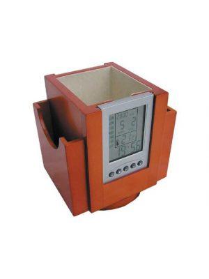 Obrotowy pojemnik na pisaki z zegarem wielofunkcyjnym