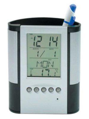 Pojemnik na pisaki z zegarem i termometrem