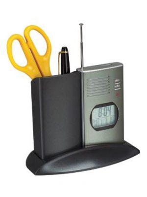 Pojemnik na pisaki z zegarem, termometrem i radiem FM